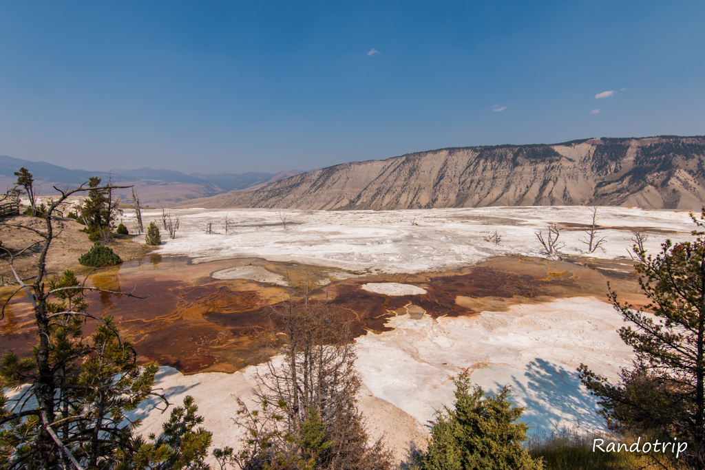 Panorama sur Mammoth Hot Springs à Yellowstone
